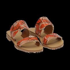 Mules flat arancio in vernice effetto snake skin, Saldi Estivi, 136767003PTARAN036, 002 preview