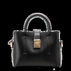 Mini bag nera in ecopelle con tracolla a bandoliera, Saldi Borse, 122429139EPNEROUNI, 001a
