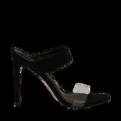 Sandali con punta affusolata neri in microfibra, listino in pvc, tacco 11 cm, Scarpe, 131732601MFNERO035, 001a