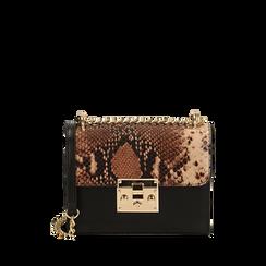 Borsa piccola marrone stampa pitone, Primadonna, 165122371PTMARRUNI, 001a