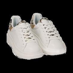 Sneakers bianche in eco-pelle con dettagli glitter , Sneakers, 152602011EPBIAN035, 002a