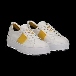 Sneakers bianco/gialle in pelle, Scarpe, 137720413PEBIGI035, 002a
