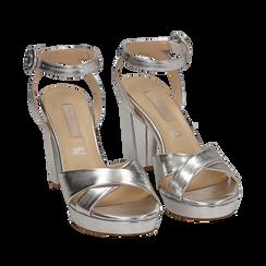 Sandali argento in eco-pelle laminata, tacco 9,5 cm, Scarpe, 152118585LMARGE035, 002a