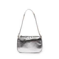Petit sac porté épaule argenté en simili-cuir brillant, Sacs, 155127201LMARGEUNI, 001a
