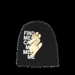 Cappello nero in tessuto con stampe, Abbigliamento, 14B406054TSNERO3XL, 001a