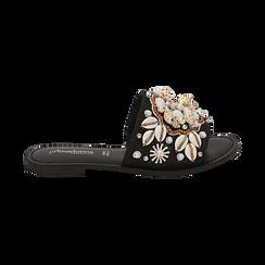 Ciabatte nere in rafia con conchiglie, Chaussures, 15K904446RFNERO036, 001 preview