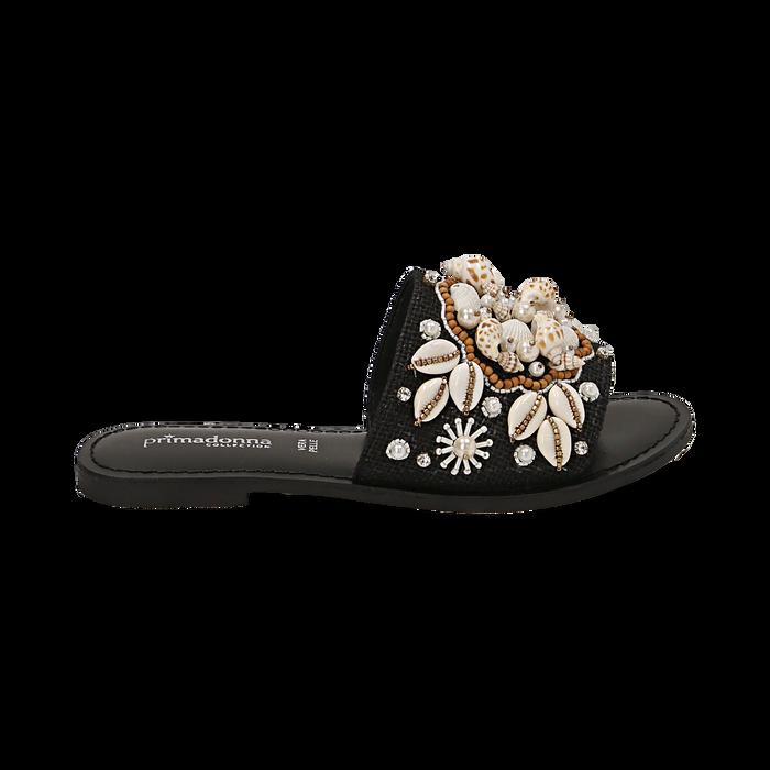 Ciabatte nere in rafia con conchiglie, Chaussures, 15K904446RFNERO036