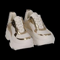 Dad shoes en eco-piel color blanco/dorado, Zapatos, 15K429169EPBIOR036, 002 preview