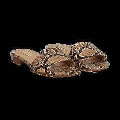 Mules flat beige in eco-pelle, effetto snake skin, Primadonna, 132708189PTBEIG037, 002 preview
