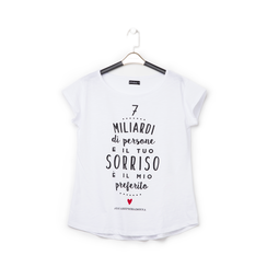 T-shirt bianca in tessuto con stampa nera minimal , Abbigliamento, 13I730073TSBIANL, 001a