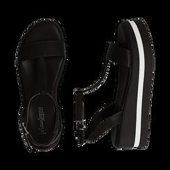 Sandali platform neri in eco-pelle, zeppa 5 cm , Primadonna, 132147513EPNERO035, 003 preview