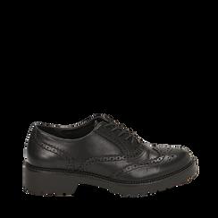 Stringate nere in eco-pelle con lavorazione Duilio, Scarpe, 140585751EPNERO035, 001a