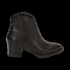 Camperos neri in pelle, tacco 6 cm , Stivaletti, 141612965PENERO036, 001 preview