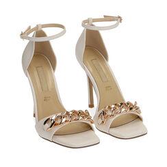 Sandali bianchi con catena, tacco 10,5 cm , Primadonna, 172114211EPBIAN036, 002a