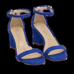 Sandali blu cobalto in microfibra, tacco 7 cm, Scarpe, 152117602MFBLCO035, 002a