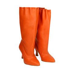 Stivali arancio in pelle, tacco 7,5 cm, Primadonna, 17A506766PEARAN036, 002a