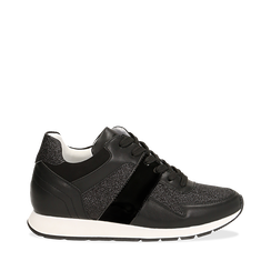 Sneakers glitter nere con dettaglio mirror, Scarpe, 132899414GLNERO035, 001a