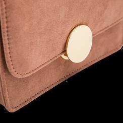 Tracolla rosa nude in microfibra scamosciata con chiusura gold, Saldi, 123308225MFNUDEUNI, 004 preview