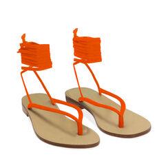 Sandali lace-up arancio in lycra, 174982380LYARAN035, 002a