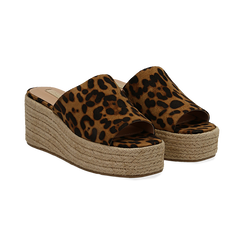 Zeppe platform leopard in eco-pelle, zeppa in corda 7 cm, Primadonna, 132708151MFLEOP036, 002 preview