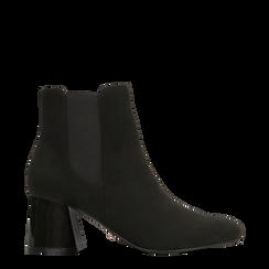 Chelsea Boots Neri Tacco con Largo Alto, Scarpe, 122707127MFNERO, 001a preview