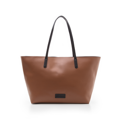 Maxi-bag cuoio in eco-pelle con manici neri, Borse, 133783134EPCUOIUNI, 001 preview