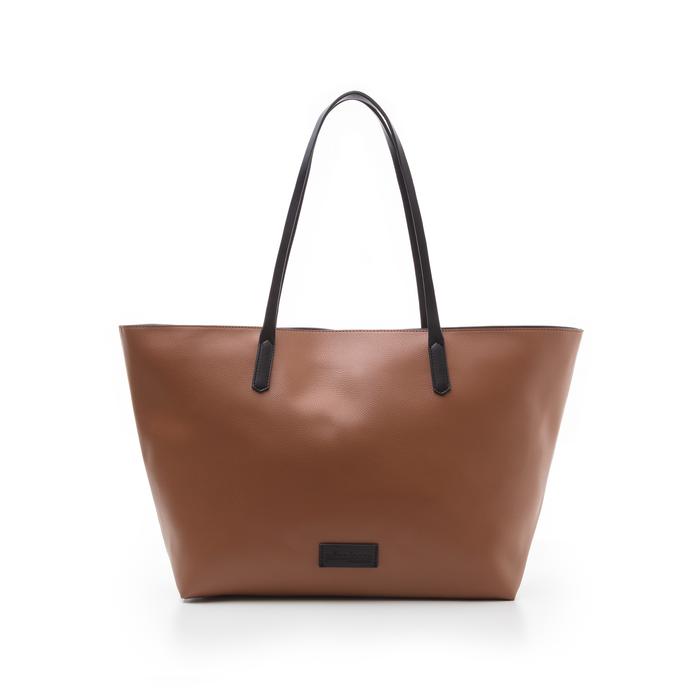 Maxi-bag cuoio in eco-pelle con manici neri, Borse, 133783134EPCUOIUNI