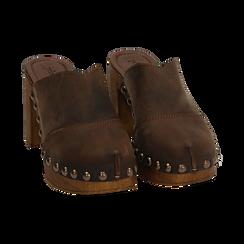 Clogs testa di moro in nabuk , Zapatos, 154304861NBMORO037, 002 preview