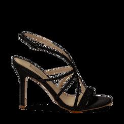 Sandali multilistino neri glitter, tacco 10,50 cm, Sandali con tacco, 132120882GLNERO035, 001a