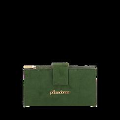 Portafogli verde in microfibra, IDEE REGALO, 165122158MFVERDUNI, 001a