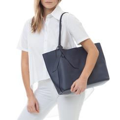 Shopping bag blu in eco-pelle con fiocco decor,