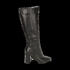Stivali neri in eco-pelle, tacco 9 cm , Scarpe, 142182525EPNERO035, 001a