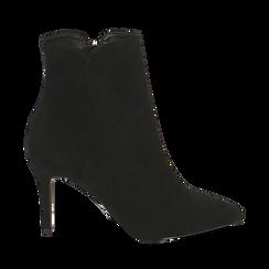 Ankle boots a punta neri in microfibra, tacco 8,5 cm , Stivaletti, 141764344MFNERO035, 001a