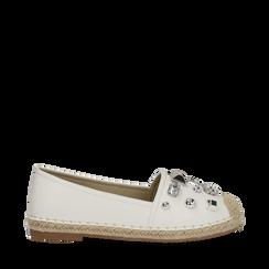 Espadrillas bianche in eco-pelle con gemme, Primadonna, 134921159EPBIAN035, 001a