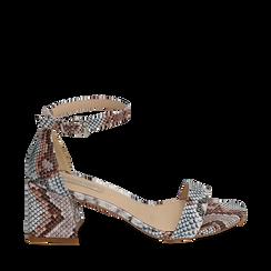 Sandali celesti stampa pitone, tacco 6,50 cm, Primadonna, 152790112PTCELE037, 001a