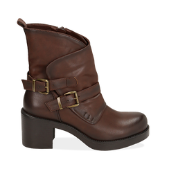 Biker boots cuoio con fibbie in eco-pelle, tacco 7 cm , Scarpe, 143091353EPCUOI, 001 preview