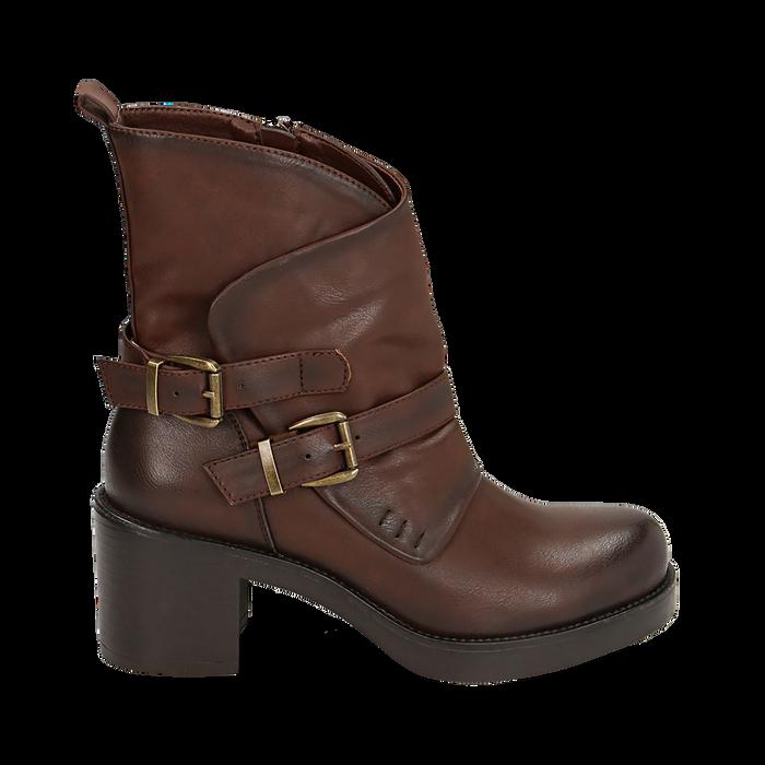 Biker boots cuoio con fibbie in eco-pelle, tacco 7 cm , Scarpe, 143091353EPCUOI
