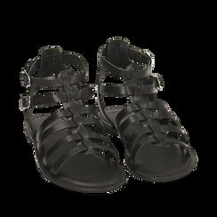 Sandali neri in pelle, 156707420PENERO035, 002a