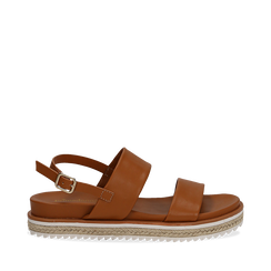 Sandali platform cuoio in eco-pelle, zeppa 4 cm, Primadonna, 132172081EPCUOI036, 001a