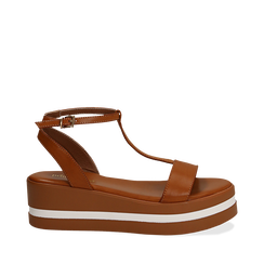 Sandali platform cuoio in eco-pelle, zeppa 5 cm , Scarpe, 132147513EPCUOI035, 001a
