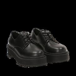 Stringate platform nere in eco-pelle , Scarpe, 140692311EPNERO036, 002a