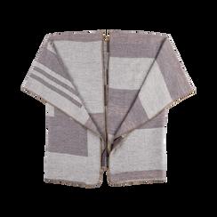 Poncho rosa effetto lamé, stampa a quadri multicolore, Abbigliamento, 12B409679TSROSA, 001 preview