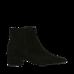 Tronchetti neri a punta, con tacco medio 4,5 cm, Primadonna, 127242325CMNERO036, 001a