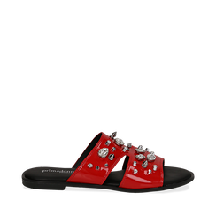 Mules rosse in vernice con borchie, Saldi Estivi, 113051322VEROSS035, 001a