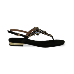 Sandali gioiello infradito neri in microfibra, Primadonna, 134994221MFNERO, 001 preview