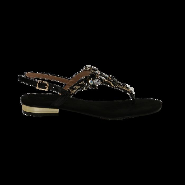 Sandali gioiello infradito neri in microfibra, Primadonna, 134994221MFNERO035