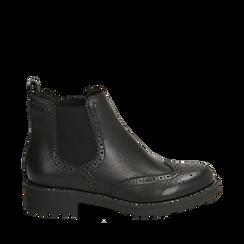 Chelsea boots neri in eco-pelle con lavorazione Duilio, Stivaletti, 140692614EPNERO035, 001a