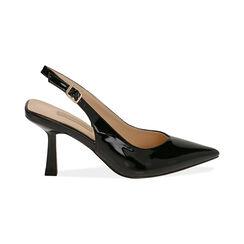 Slingback negro de charol, tacón 8 cm,  Zapatos, 174823795VENERO037, 001 preview