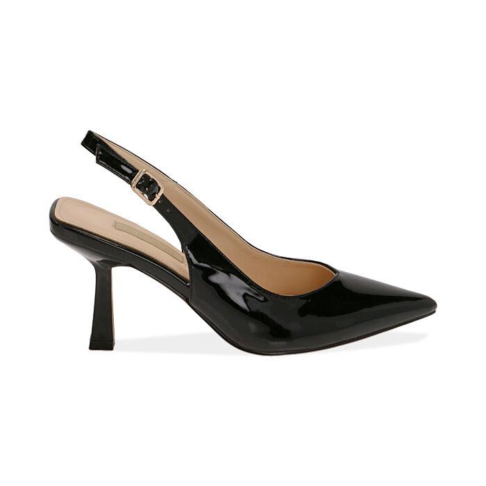 Slingback negro de charol, tacón 8 cm,  Zapatos, 174823795VENERO037