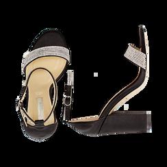 Sandali neri in raso con mini cristalli, tacco 10,5 cm, Scarpe, 132150553RSNERO035, 003 preview